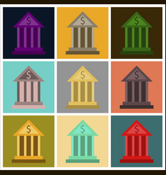 Assembly of flat icons business bank building vector