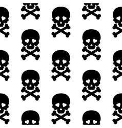 Skull seamless pattern background white black vector