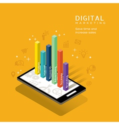 Digital marketing media graph on smartphone vector