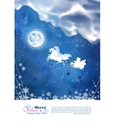 Santa riding sleigh christmas background vector