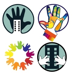 Icons with hand vector