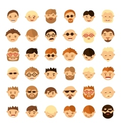 Set of people face icons in flat style vector