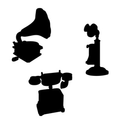 Victorian telephone phonograph silhouettes vector
