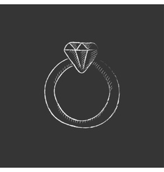 Diamond ring drawn in chalk icon vector
