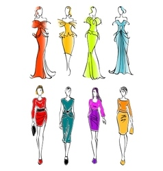 Women presenting dresses for work and leisure vector