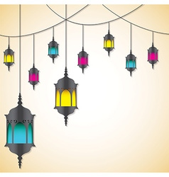 Moroccan lantern card in format vector