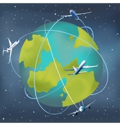Earth planet with airplanes around vector