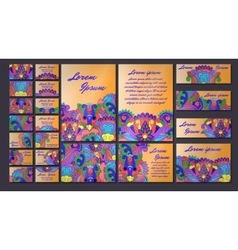 Colorful greeting invitation card set vector
