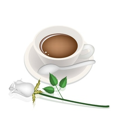 A cup of hot coffee and white rose vector