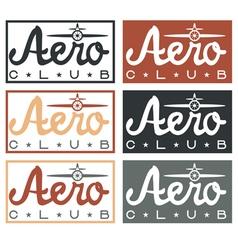 Aero club quote on vintage labels set vector