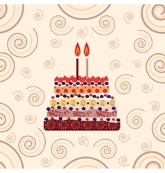 Birthday cake with two candles Two years vector image