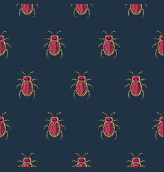 blue and gold beetle brooch seamless vector image vector image