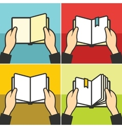 Book for learning in hands vector