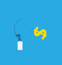 businessman use fishing rod to get dollar symbol vector image vector image
