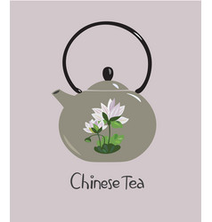 Chinese ceramic teapot with lotus flower vector