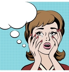 Crying frustrated woman with empty speech bubble vector image