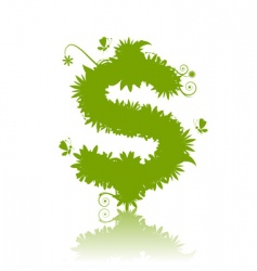 dollar sign green vector image vector image