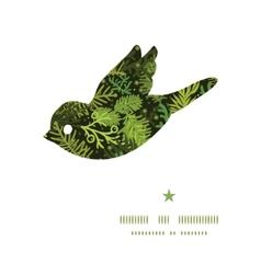 Evergreen christmas tree bird silhouette pattern vector
