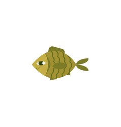 Flat green fish icon isolated vector
