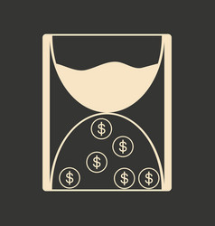 Flat in black white hourglass and coins vector