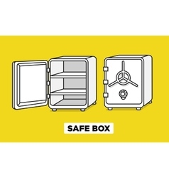 Flat line safe boxes open and closed vector