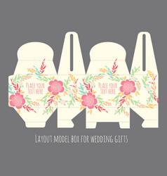 Gift wedding favor box template vector