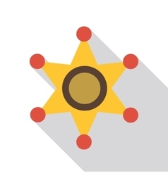 Gold star of sheriff icon flat style vector