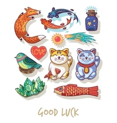 Good luck lucky amulets and happy symbols vector