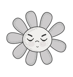 Grayscale kawaii angry flower with close eyes vector