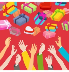 Hands catching the falling gift boxes vector image