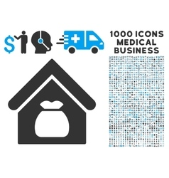 Harvest Warehouse Icon with 1000 Medical Business vector image vector image