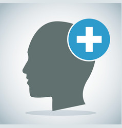 Human head brain medical cross concept vector