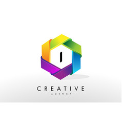 I letter logo corporate hexagon design vector