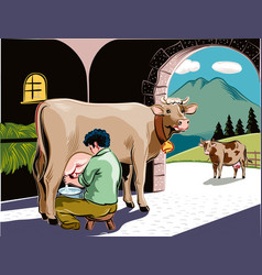 Intent farmer milking a cow in the barn vector