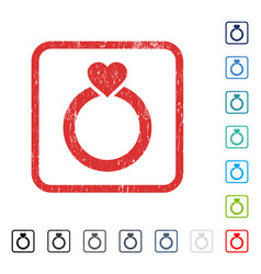 Love ring icon rubber watermark vector