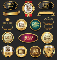 luxury retro badges gold and silver collection 4 vector image vector image