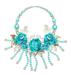 necklace with turquoise roses vector image vector image