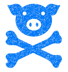 Pig death icon grunge watermark vector