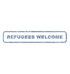 Refugees welcome textile stamp vector