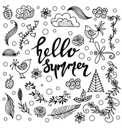 set of hand drawn summer themed phrases vector image vector image