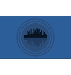 Silhouette of city icon flat vector image