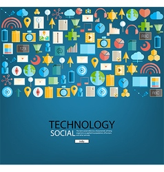 Social network with media icons background vector image vector image