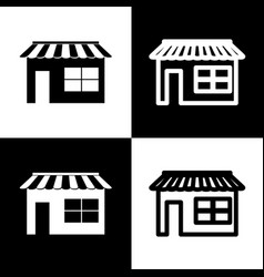 store sign black and white vector image