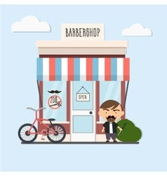 stylish barber standing vector image