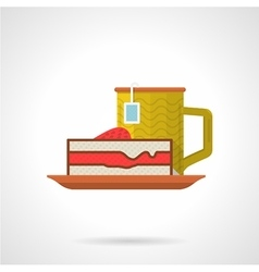 Tea and pie flat color icon vector image vector image