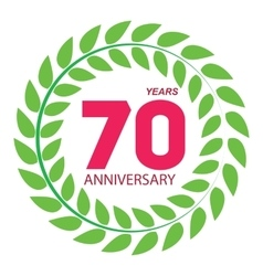 Template logo 70 anniversary in laurel wreath vector