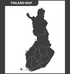 the detailed map of the finland with regions vector image vector image