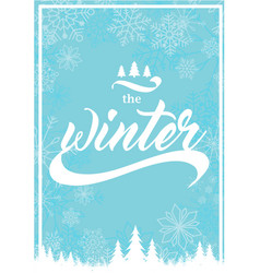 The winter snowflake blue background image vector