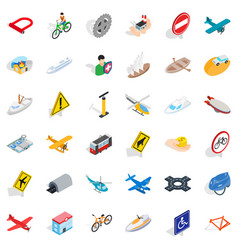 Transport icons set isometric style vector