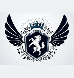 Vintage heraldry design template emblem created vector